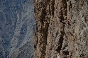 A member of Miles Beyond team during a cliff wall rappelling