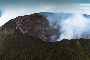 Il cratere del Monte Nyiragongo, fotografato dall'aereo.