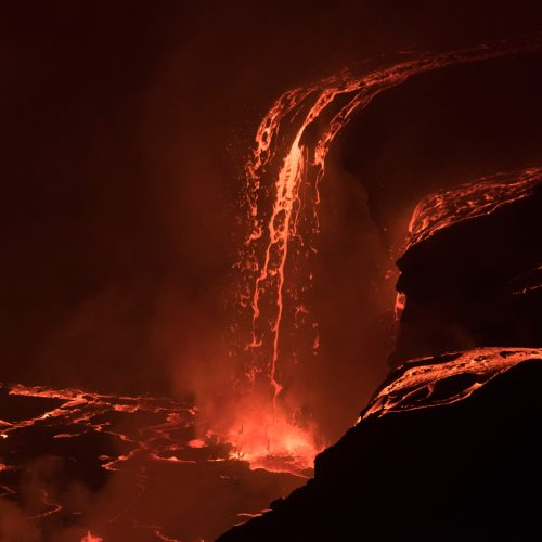 lavafall into the crater of the Nyiragongo active volcano