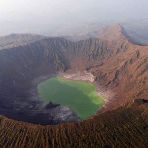Chichonal volcano with the lake at the bottom of the crater