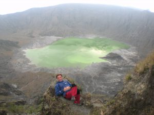 Chichonal volcano. On the edge of the crater